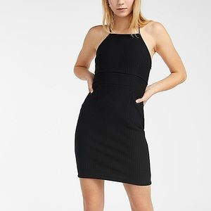 Fitted Textured Halter Dress with Spaghetti straps